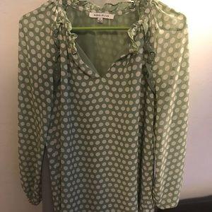 Blouse (green white polka dots)